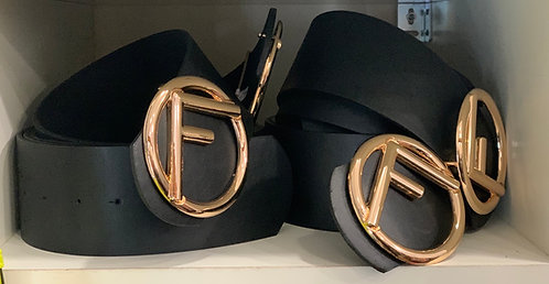 Belt with F logo gold fastening