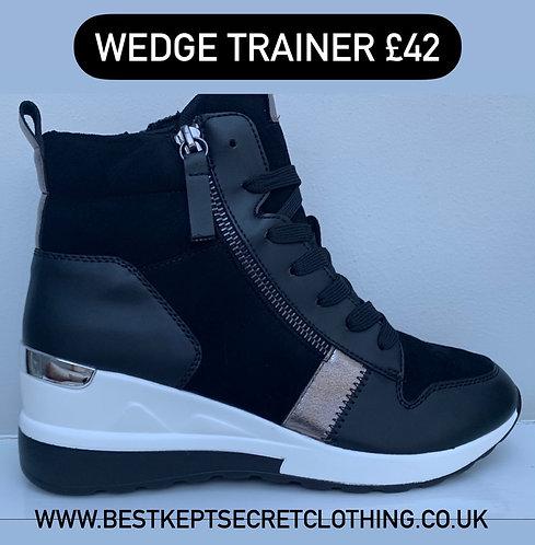 Black Wedge Trainer with Zip Detail