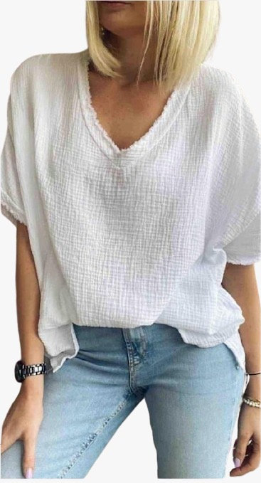 Italian Cotton Top with Frayed V Neck & Sleeve detail
