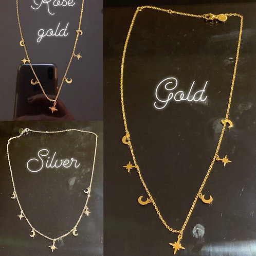 Short necklace with star & moon charms