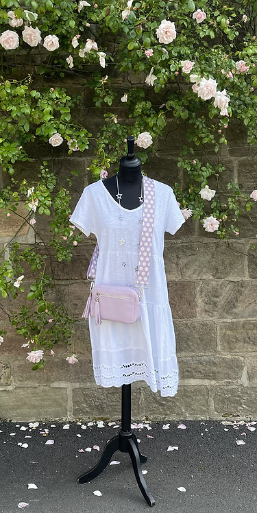 Italian Cotton Short Dress with Lace Bottom Detail