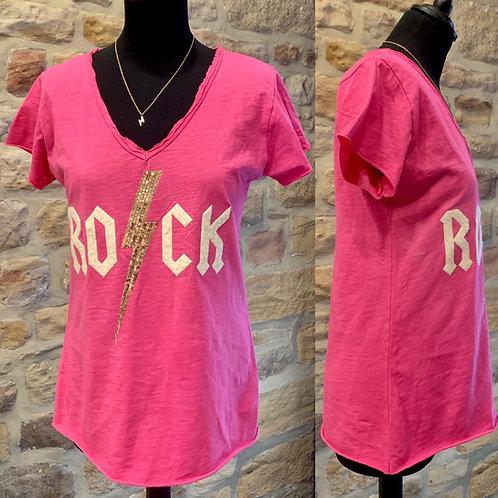 Italian Cotton V neck Tee with Rock Motif