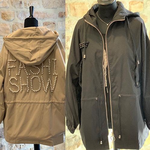 Hoodie raincoat pearl detail