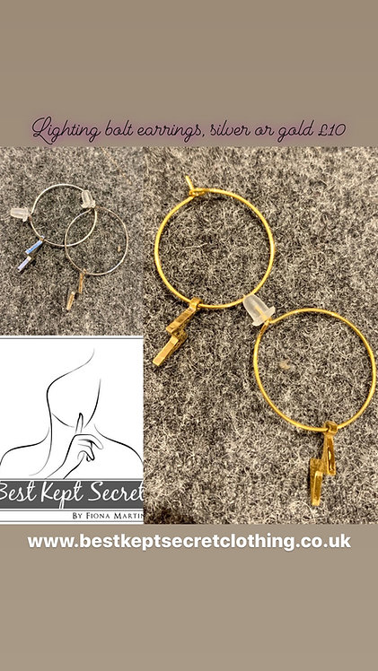 Lighting bolt silver or gold earrings