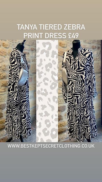 Tanya Tiered Zebra Print Dress