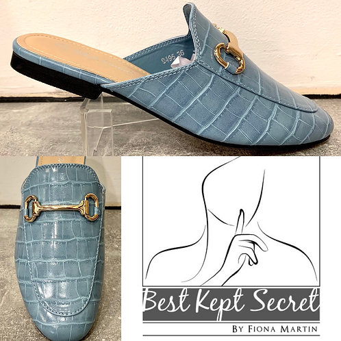 Pale Blue Moc Croc Sling Back Snaffle Front Shoes