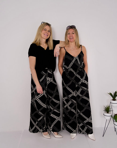 Black Jumpsuit with Cream Chain Detail