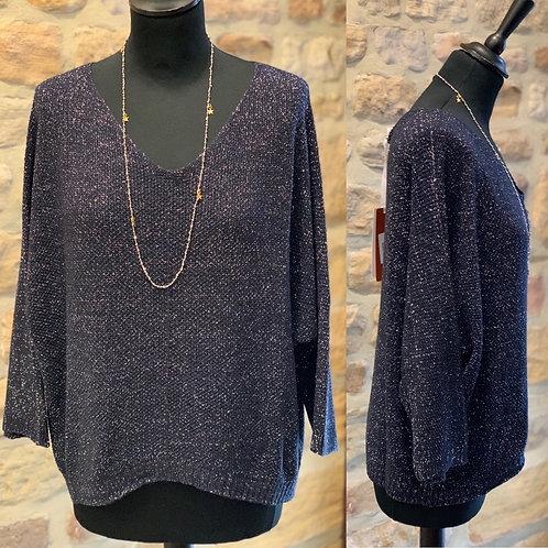 Tiffy Sparkle V Neck Sweater Top