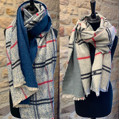 Checked & Plain Back Scarf