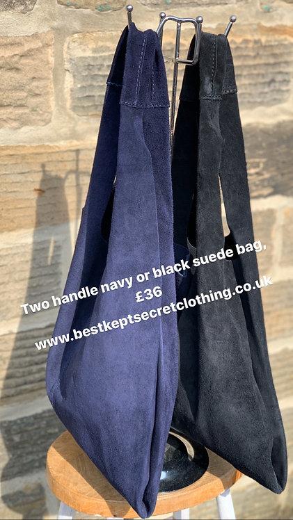 Navy & black suede slouchy bag
