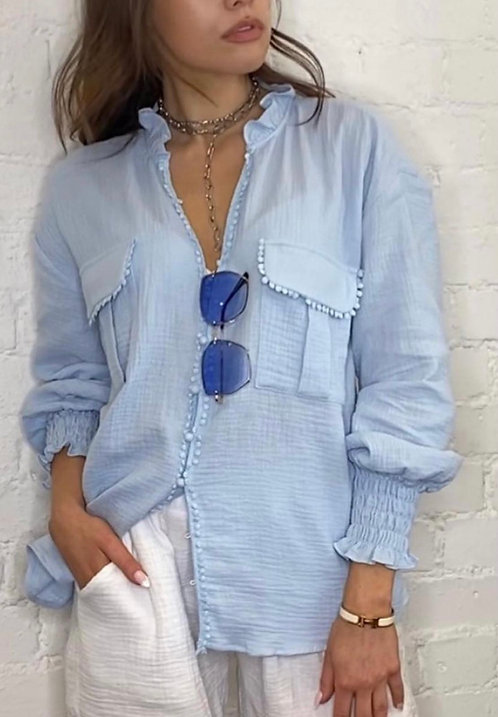 Bella Blue Cotton Blouse with Pockets & Cuff Detail