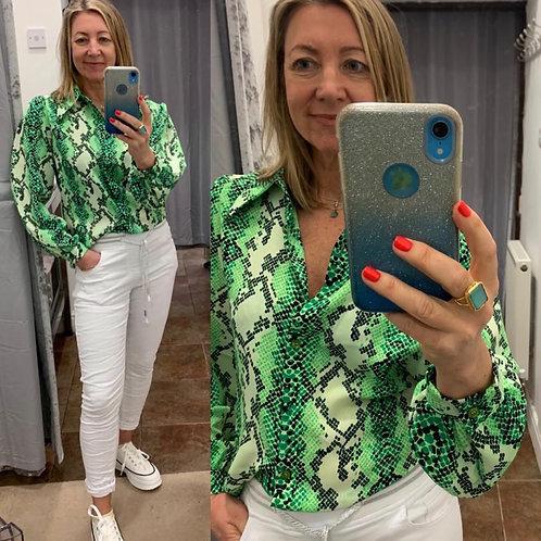 Hetti Snake Print Collar Shirt Top