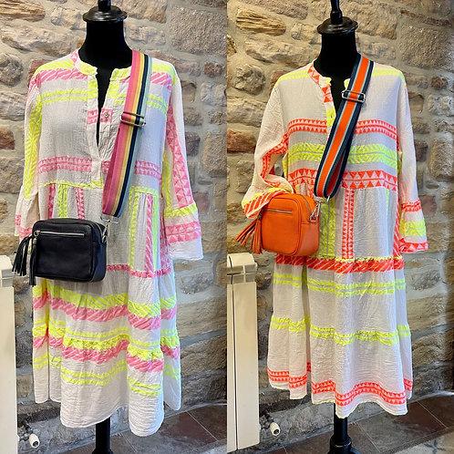 Neon Aztec Italian Dress