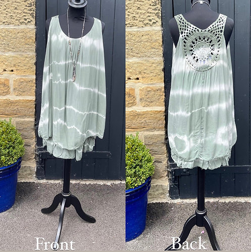 Crochet Back Short Tunic Dress