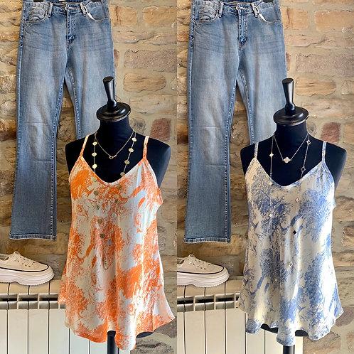 Italian Silk Mix Patterned Vest Top