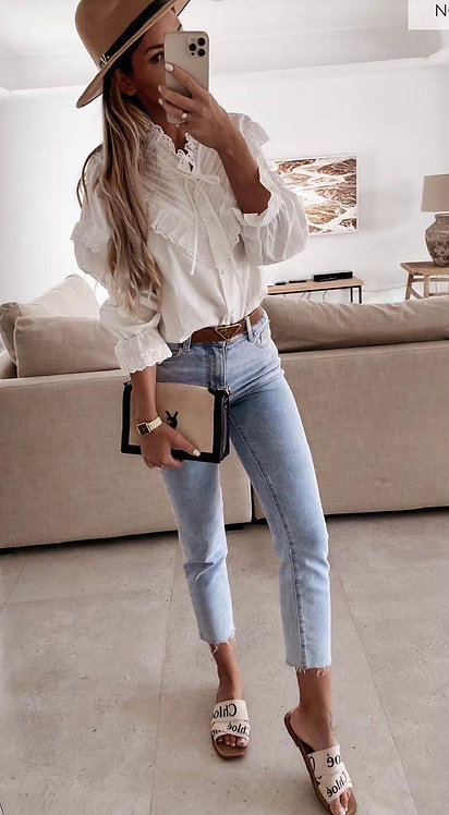 Cotton Frill Tie Blouse Top in Off White