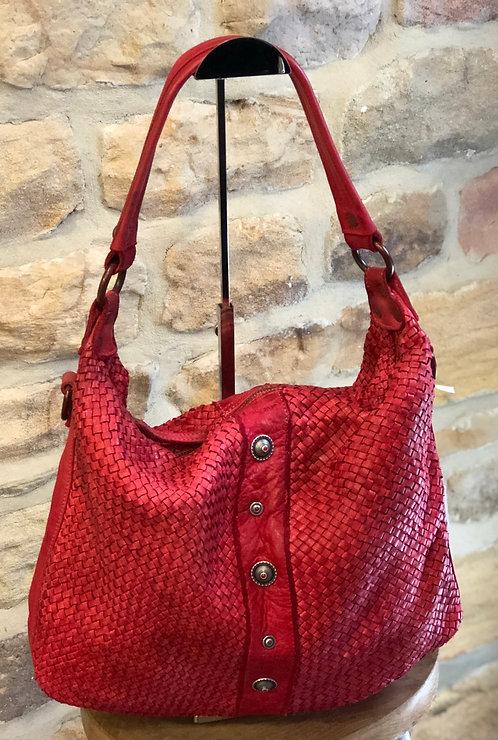 Turin red Italian woven leather bag