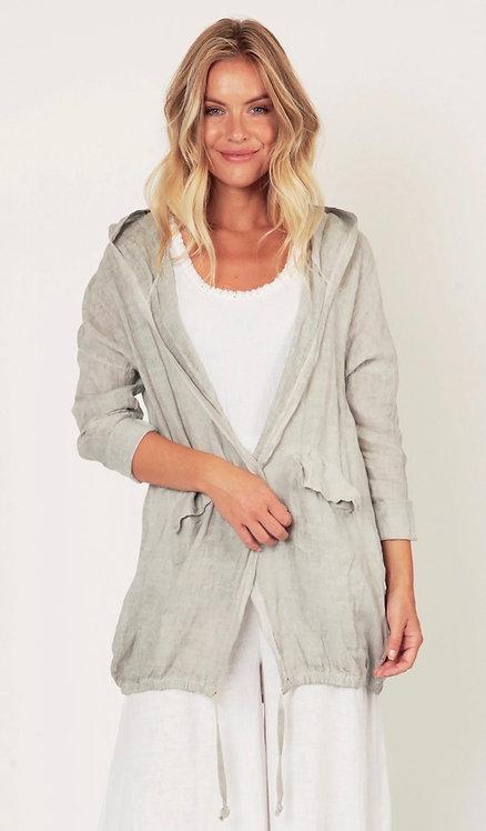 Italian Linen Hooded Parka Jacket