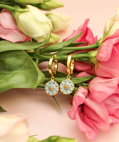 Enamel Daisy Huggie Earrings