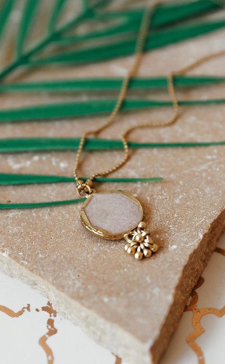 Champagne Enamel Pendant Long Necklace
