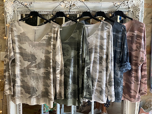 Camouflage V neck long sleeve top