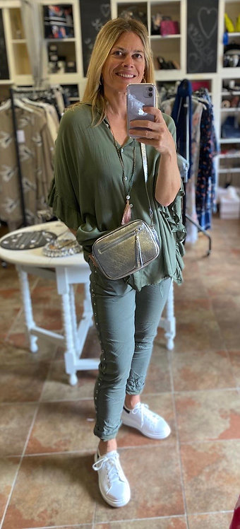 Collete frill sleeve top in olive or white