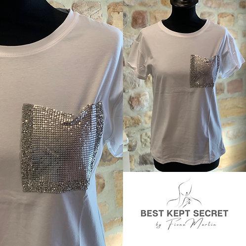 Embellished Pocket T-shirt Top