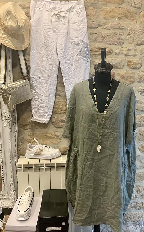 Italian Linen Dress with Gathered Pockets