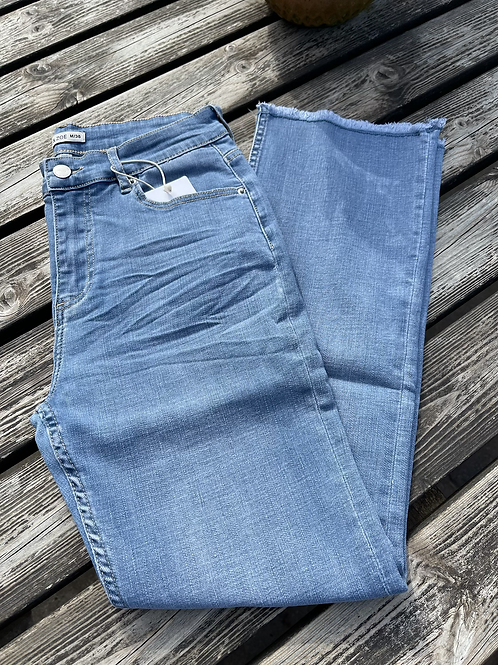 Pale Denim Mom Fit Flared Jeans