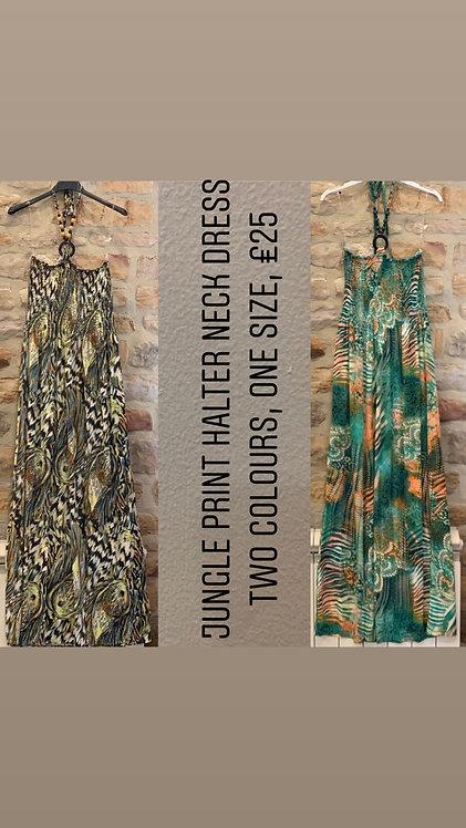 Jungle print halter neck maxi dress