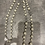 Thumbnail: Long Black or Cream bead necklace with gold CC