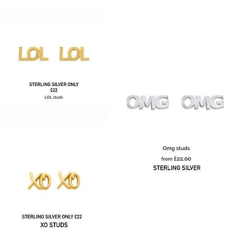 Sterling Silver Stud Earrings LOL XO