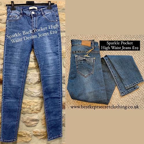Sparkle Back Pocket High Waist Denim Jeans