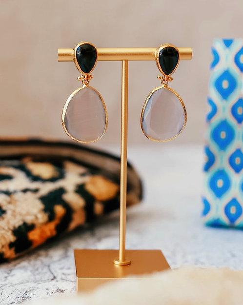 Double Drop Black & Rose Earrings