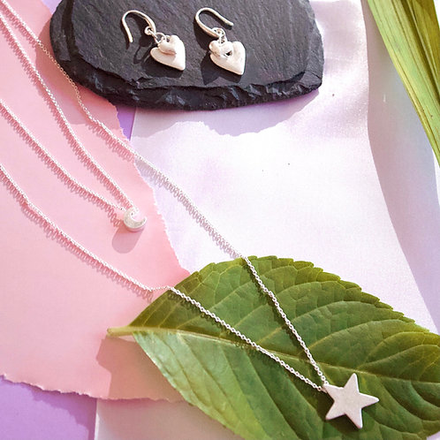 Double Layered Mid Length Necklace with Star & Moon Charm