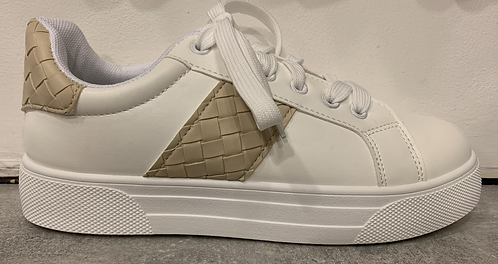 White Trainers with Beige Pleated Detail