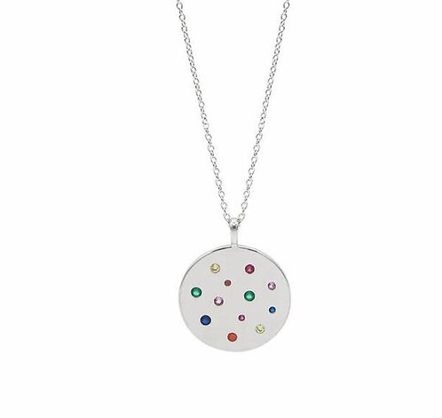 Rainbow planet pendant necklace