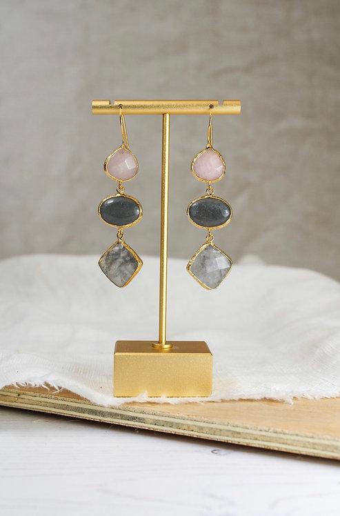 Rose Quartz, Quartzite & Labradorite Drop Earrings