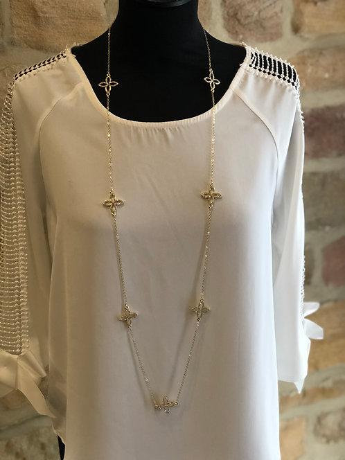 Gold floral LV necklace