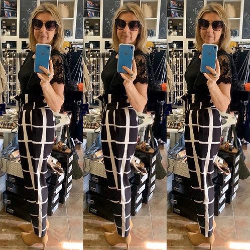 Shari black & cream paper bag top trousers