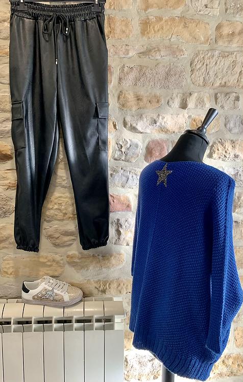 Star Back V Neck Sweater