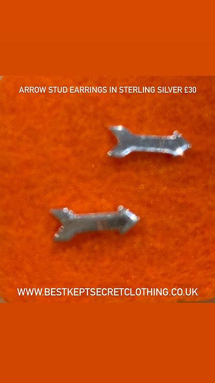 Arrow stud earrings in sterling silver
