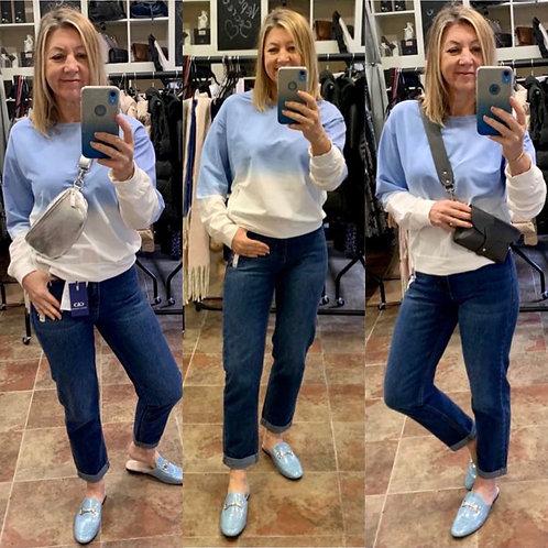 Wide ankle high waist dark denim jeans