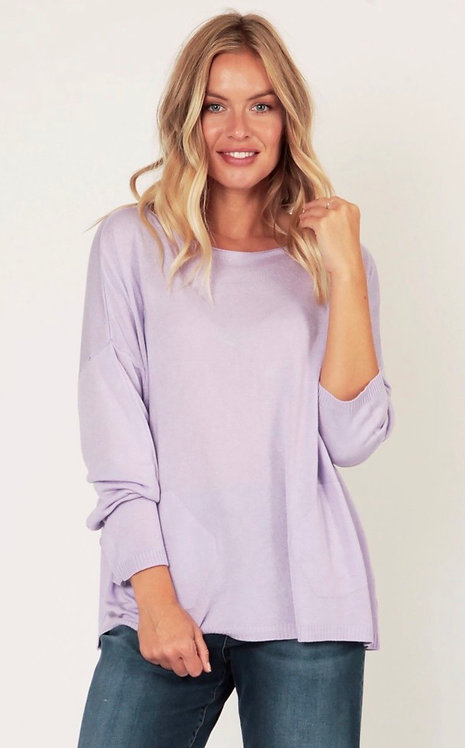 Leonie Long Soft Knit Sweater with Side Pocket Detail