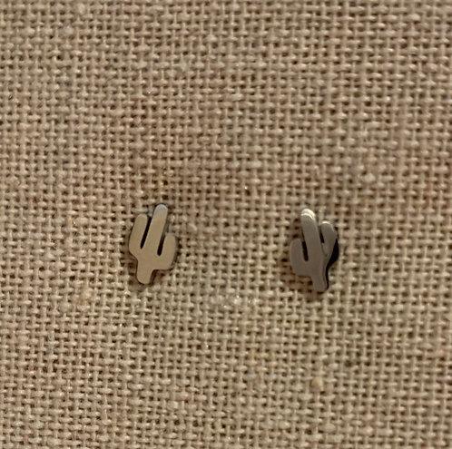 Cactus silver earrings
