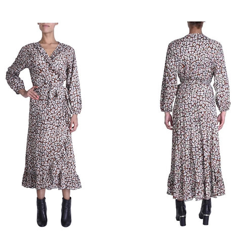 Mandy wrap long sleeve dress from the French Collection
