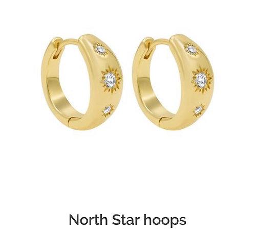North Star Gold Hoop Earrings