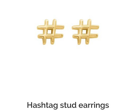 Hashtag Stud Earrings in Gold