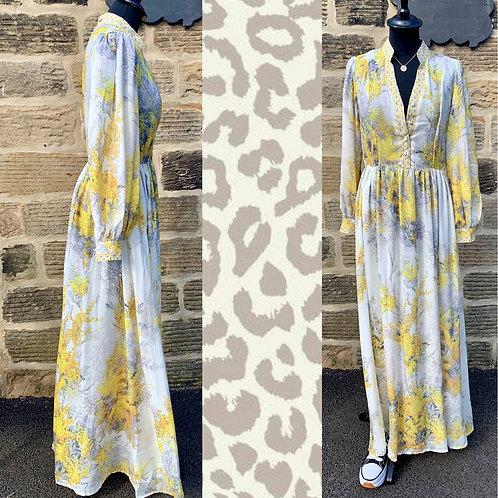 Suzi Yellow or Blue Flower Maxi Dress