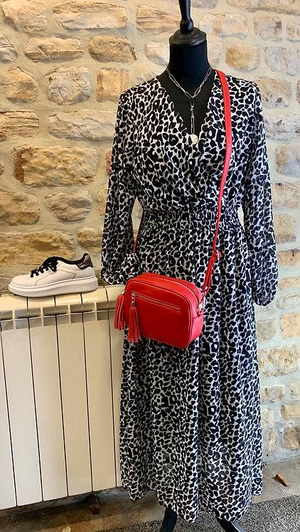 Mimi Crossover Animal Print Dress
